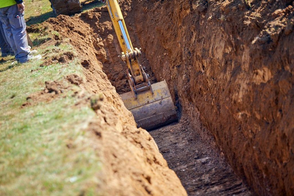 Gleuf graven fundering uitgraven