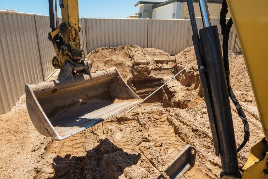 Graafarm aan het graven